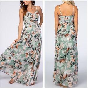 Lulus Sage Floral Maxi Dress